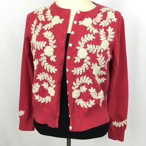 Sundance floral embroidered red pink cardigan  L